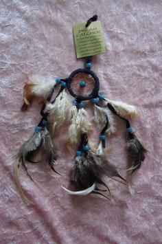 """Traumfänger """"blau"""" Gesamtlänge 28 cm Ring 5 cm ∅ mit Federn und Perlen"""