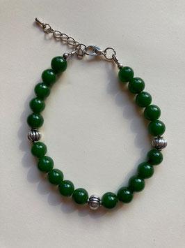 Jade dunkelgrün, 8 mm Perlen, Armband 19 cm mit Karabiner Verschluss und Verlängerung