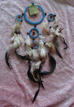 """Traumfänger """"türkis"""" Gesamtlänge 54 cm Durchmesser Ringe 9 cm, 4,5 cm, 3,5 cm ∅ mit Perlen und Federn"""