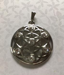 Blume des Lebens weiß vergoldet 30 mm Durchmesser mit 7 Swarovski Kristallen mit Kette 45 cm