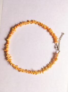 Korallen orange Splitterkette 43 cm, silberfarbiger Karabinerverschluss mit Verlängerung