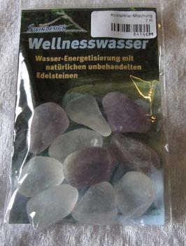 Wellnesswasser-Trinkmischung Kristallklar Amethyst, Bergkristall Edelsteinmsichung  8414CM - Trommelsteine