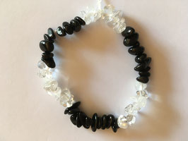 Bergkristall  Onyx Splitterarmband  19 cm elastisch