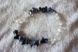 Bergkristall Sodalith Splitterarmband  19 cm elastisch