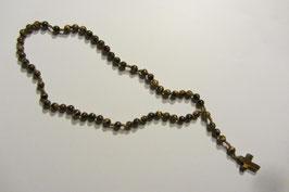 Wunderschöner Rosenkranz aus edlen Tigerauge Steinperlen handgefertigt mit farblich passender Schnur Länge 41 cm, Verlängerungstück mit Kreuz 6,5 cm