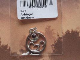 OM Anhänger mit  Granat Edelstein  15 mm Durchmesser 925-Silber
