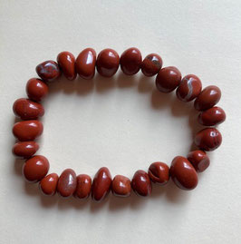 Jaspis rot  Nugget Armband ca. 10 x 8 mm, Länge 19 cm elastisch Stretchband