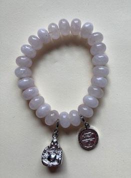 Rosenquarz  Armband ca. 11 x 6 mm Linsen mit Buddha und Chinesisches-Zeichen elastisch Stetchband 19 cm