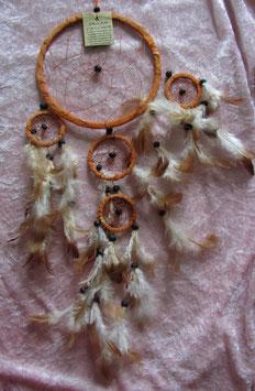 """Traumfänger """"orange"""" Gesamtlänge 58 cm Durchmesser Ringe 16,5 cm, 6 cm, 5 cm ∅ mit Perlen und Federn"""