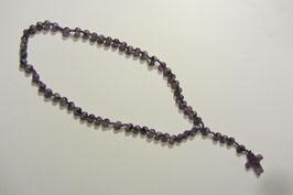 Wunderschöner Rosenkranz aus edlen Amethyst Steinperlen handgefertigt mit farblich passender Schnur Länge 41 cm, Verlängerungstück mit Kreuz 6,5 cm