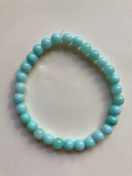 Jade hellgrün, 6 mm Perlen, Armband 19 cm elastisch Stretchband