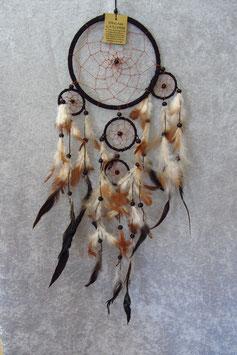 """Traumfänger """"schwarz"""" Gesamtlänge 60 cm Durchmesser Ringe 16,5 cm, 6 cm, 5 cm ∅ mit Perlen und Federn"""