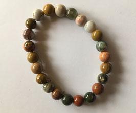 Buntes Jaspis Armband Perlen 8 mm Durchmesser,  elastisch Stretchband 19 cm