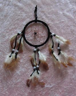 """Traumfänger """"schwarz"""" Gesamtlänge 28 cm Durchmesser Ring 9 cm ∅ mit Perlen und Federn"""