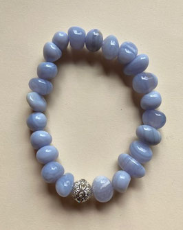 Chalcedon Nugget Armband 10 x 8 mm Nuggets,  19 cm lang elastisches Band