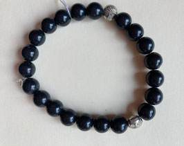 Obsidian schwarz Kugel Armband, Kugeln 8 mm Durchmesser, silberfarbige Buddhaköpfe, 19 cm elastisch Stretchband
