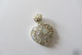 Weißer Labradorit Herz 10 fac. Steine, mosaikförmig eingefasst in 925 Silber Größe 25 x 38 mm