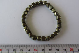 Pyrit Würfel, Würfel 5 x 5 mm,  Armband 18 cm elastisch Stretchband