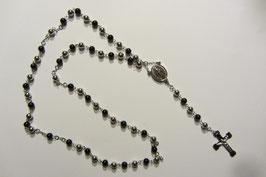 Wunderschöner Rosenkranz aus Edelstahl mit schwarzen und silbernen Perlen Länge 63 cm, Verlängerungstück mit Kreuz 10,5 cm