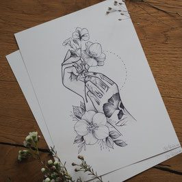 Hands and Flowers- Druck