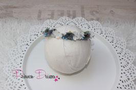 Blumenkranz zum Binden ab Newborn grau/blau/weiß