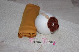 Set Pucktuch Senf & ein oder zweix Haarband Blume braun/Schleife Senf