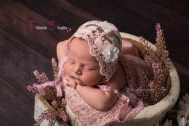 Rüschen Bonnet Häubchen rosa/creme Blumenlook, auch mit Haarband im Set