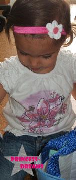 Haarband weiß/pink Blume15