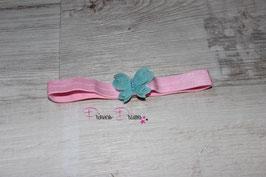 HB663 Schmetterling türkis auf rosa Band