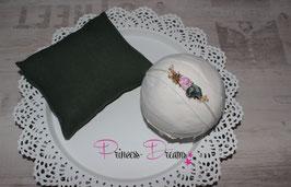 SHB Naturband weiß zum Binden, Blüten grün/rosa