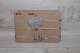 SHB 3er Set Schleifen, Spitze, Perlen stahlblau