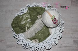 Set Spitzen Romper grün mit Röckchen creme auch mit Haarband
