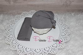 Foto Set: Mütze & Wrap grau