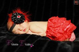 FHB Blume schwarz Federn rot