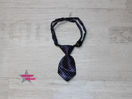 X-MAS Krawatte dunkelblau m. Dots weiß 10x5cm