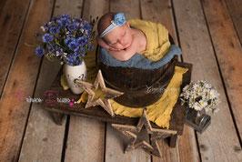 JHB Blume babyblau Perle/Glitzerstein