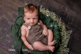 Neu! Neugeborenen Mohair Strick Latzromper braun