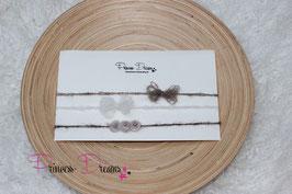 Spar-Set 3 Haarbänder SHB braun/Tan mit Perlen/Mohair Schleife braun & ivory