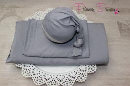 Beanbagdecke grau mit passenden Wrap und oder Mütze alles in grau bitte auswählen