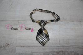 Mini Krawatte beige/schwarz 10x5cm