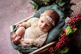 Blumenkranz mit Gummiband ab Newborn gold