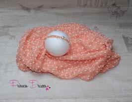 Set Bommel Wrap aprikot & Haarband Perle