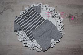 Set Hose & T-Shirt V Ausschnitt grau/gestreift creme Boys 0-2