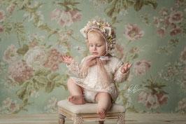 langarm Rüschen-Romper beige/creme für Sitzkinder  ab 9- ca. 16 Monate