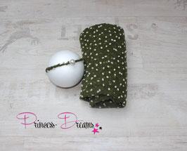 Set Bommel Wrap grün & Haarband Perle