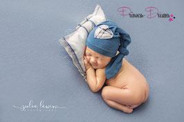 Set Pillow/Mütze Herz blau