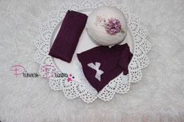 Foto Set: Mütze & Wrap lila auch mit Haarband möglich