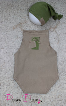 Set Knotenmütze grün & Overall beige Boys 0-2 Monate