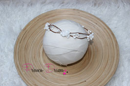 Blütenkranz für Newborns braun/weiß Blumen
