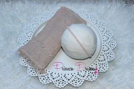 Set Perlen Musselin-Fransentuch natur/nude & Perlen Haarband puder